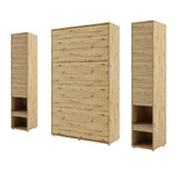 vertical small double wall bed Murphy Bed folding space saving bed with side cabinets oak artisan