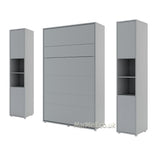 vertical small double wall bed Murphy Bed folding space saving multifunctional bed with side cabinets grey
