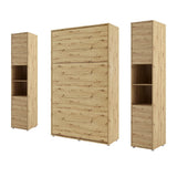 vertical small double wall bed Murphy Bed folding space saving multifunctional bed with side cabinets oak artisan