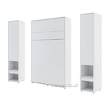 vertical small double wall bed Murphy Bed folding space saving multifunctional bed with side cabinets white