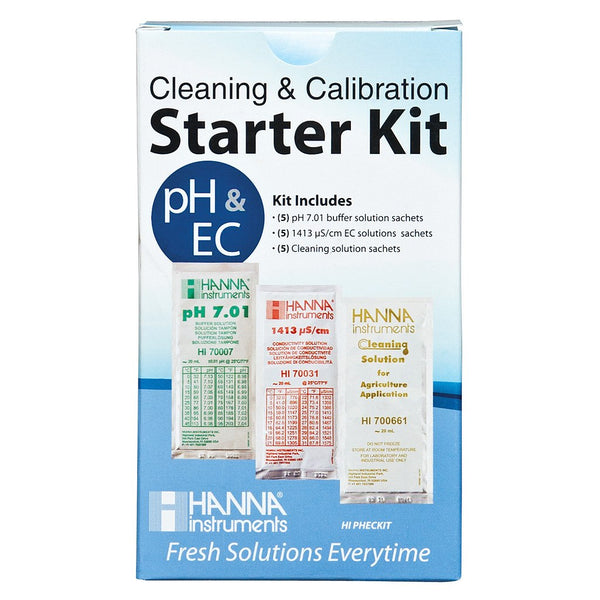Hanna Solution Starter Kit (pH, EC & Cleaning) - Calibration Solution - Rogue Hydro
