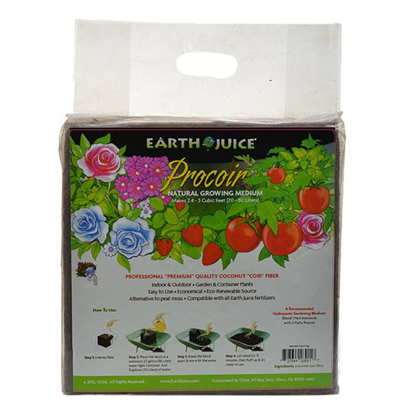 Earth Juice Procoir Pure Coco-Coir Bale 11 Pounds, 2.5-3 CU FT - Coco Coir - Rogue Hydro