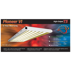 Pioneer 4' x 6 Tube T5 Fixture, Tubes Not Included - Fluorescent Grow Light - Rogue Hydro