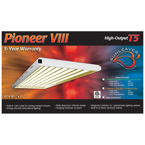 Pioneer 4' x 8 Tube T5 Fixture, Tubes Not Included - Fluorescent Grow Light - Rogue Hydro