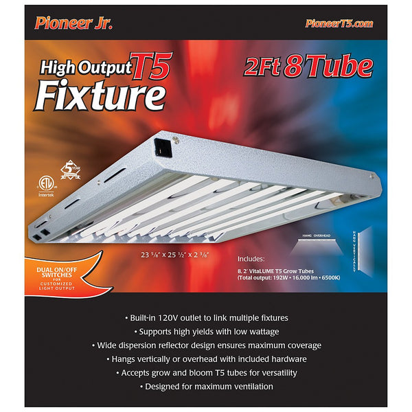 Pioneer Jr. 2' x 8 Tube T5 Fixture with Grow Tubes - Fluorescent Grow Light - Rogue Hydro - 2