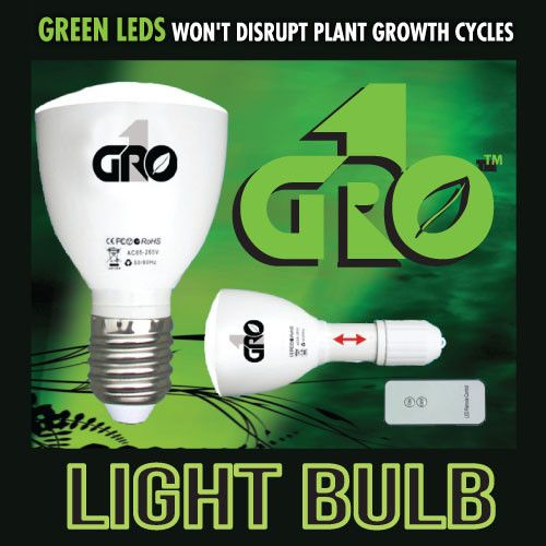 Grow1 Green LED Light Bulb w/ Remote - Green Lights - Rogue Hydro - 3