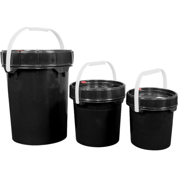 Harvest Keeper Spin Lock Buckets with Lid – Black - Storage Container - Rogue Hydro - 1