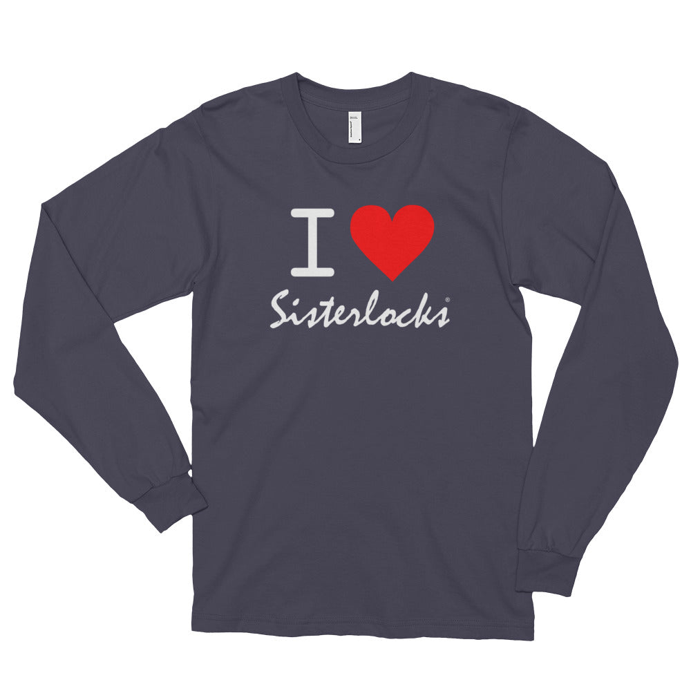 """I Love Sisterlocks"" Long Sleeve T-shirt - Asphalt"