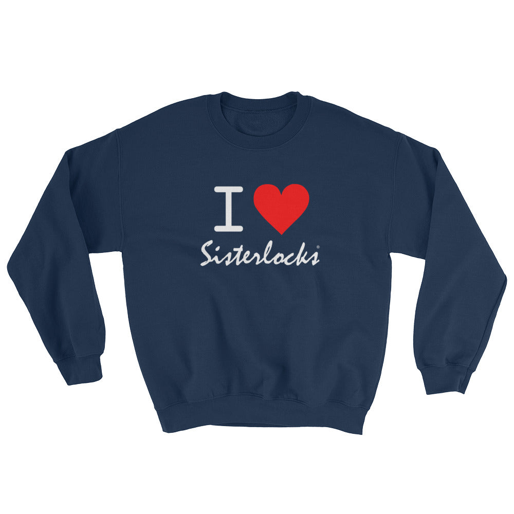 """I Love Sisterlocks"" Sweatshirt - Navy Blue"
