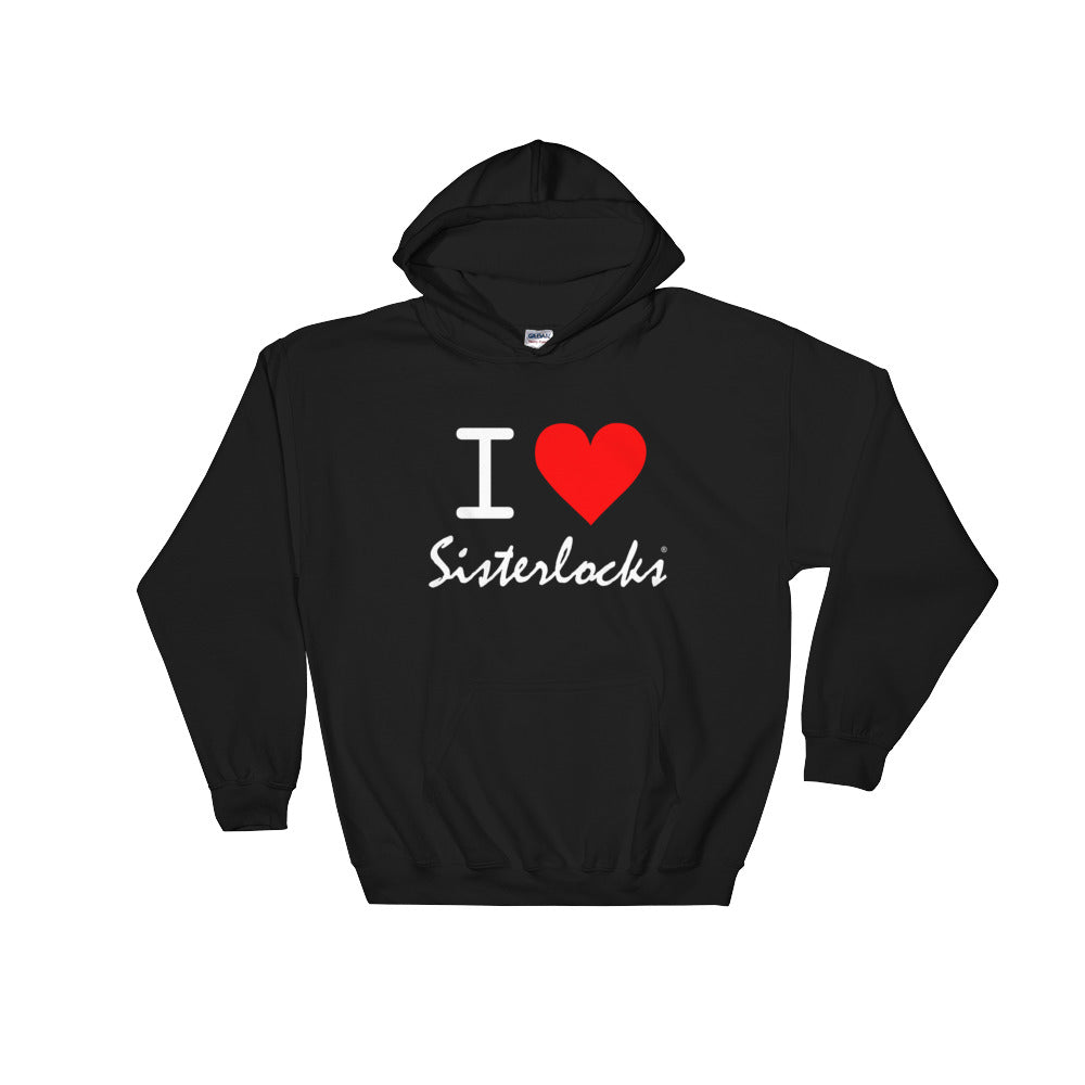 """I Love Sisterlocks"" Hooded Sweatshirt - Black"