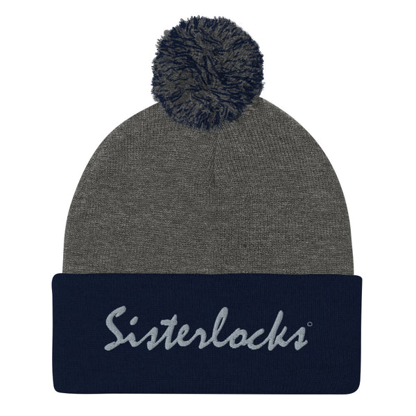 Sisterlocks Pom-Pom Beanie - Blue/Grey