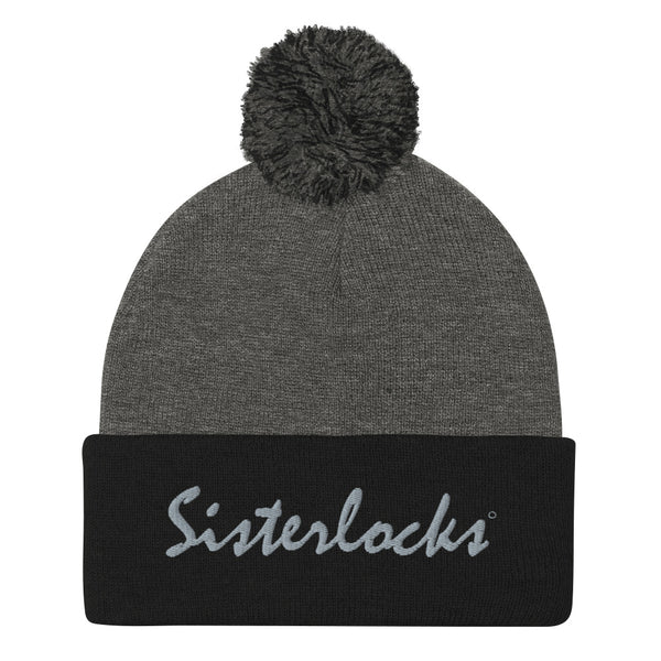 Sisterlocks Pom-Pom Beanie - Black/Grey