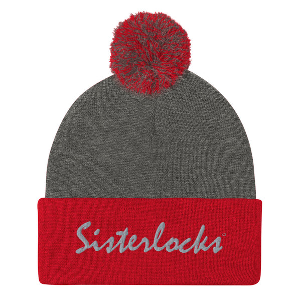 Sisterlocks Pom-Pom Beanie - Red/Grey