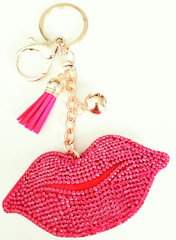 sparkle lips plush purse charm