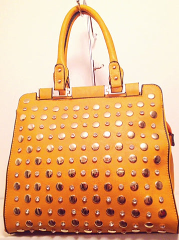 studded tote in mustard 2