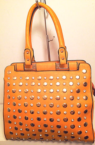 studded tote in mustard