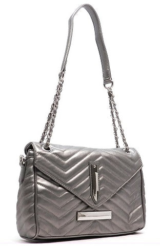 pewter quilted chevron