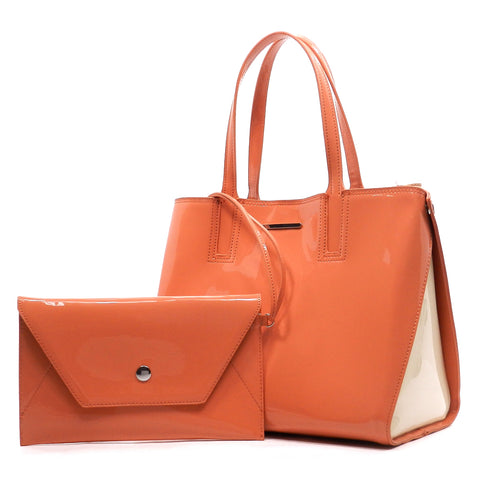 color block top handle tote salmon