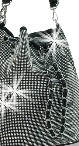 dazzling bucket bag close up