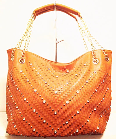 Studded Tote Bag in Camel