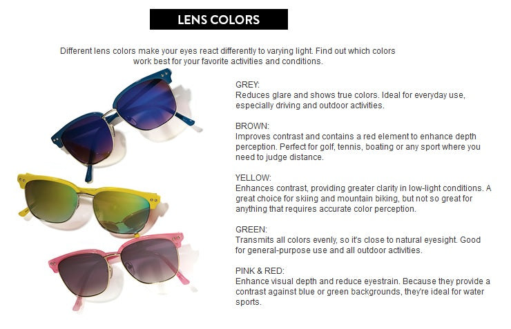 sunglasses fit guide lens colors