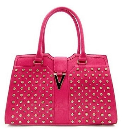 studded top handle handbag fuchsia