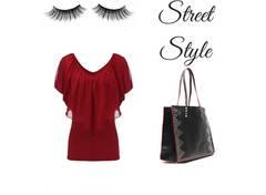 black studded tote look book