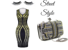 black n gold clutch look book