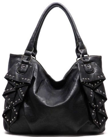 ruffled bag in black