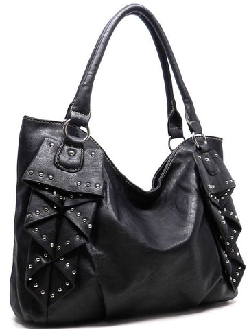ruffled bag in black profile