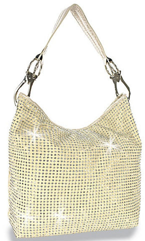 cream rhinestone shoulder bag