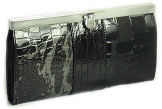 faux croc wallet in black & grey