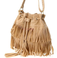 fringed bucket beige