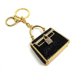 black bling purse key ring