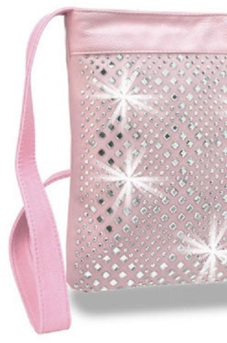 pastel pink cross body close up