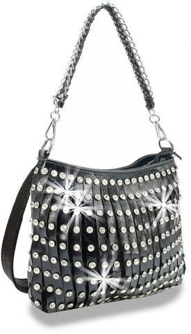 pleated shoulder bag in blk