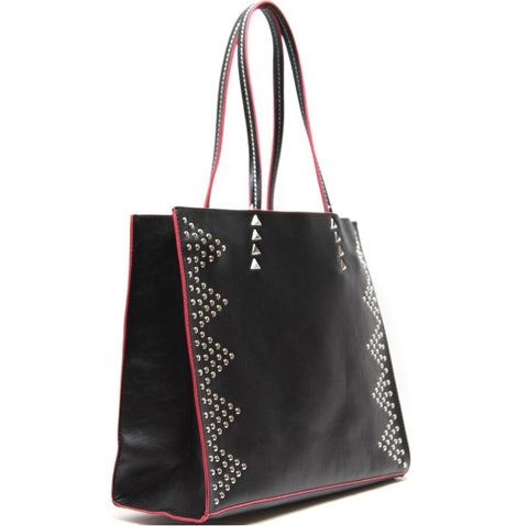 studded tote bag in black profile