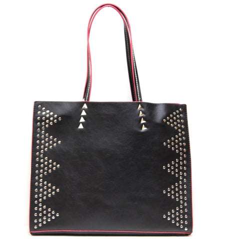 studded tote bag in black