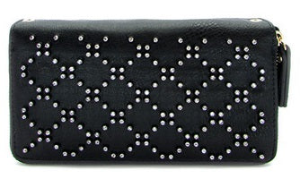 rhinestone double zip wallet