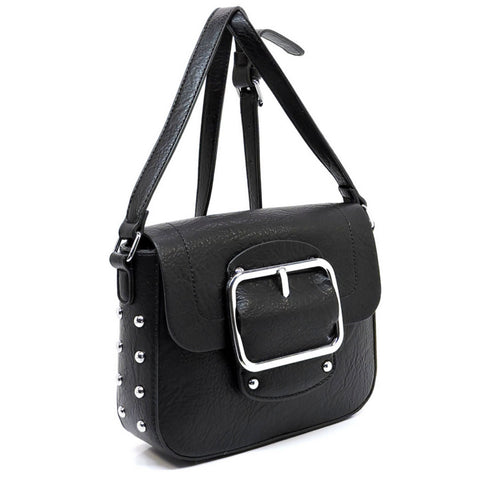 black buckeled cross body