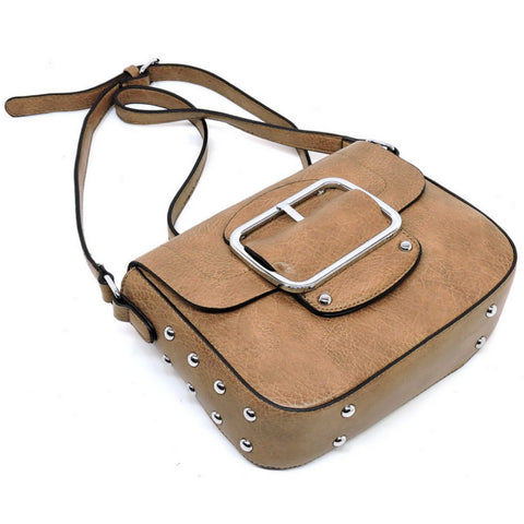 tan buckeled cross body