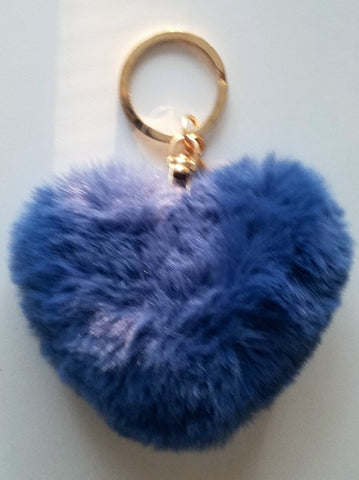Heart Shaped Pom Pom in Blue