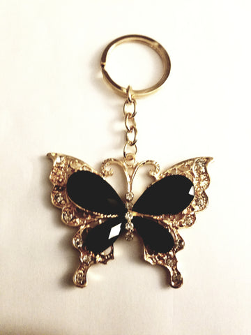 black butterfly key ring