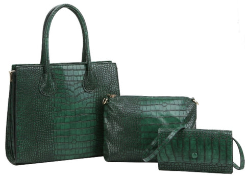 faux croc set green