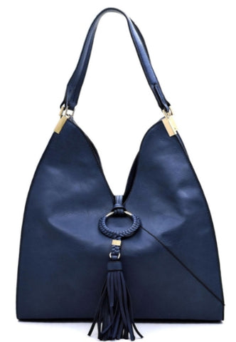Tasseled satchel in blue