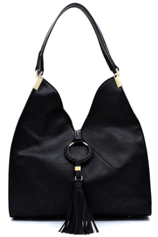 Tasseled satchel in black