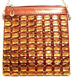 jeweled bronze cross body bag
