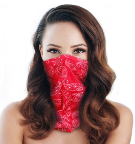 bandana scrunch mask red