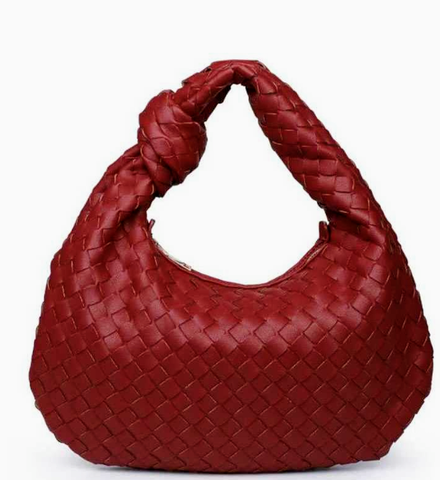 red woven hobo
