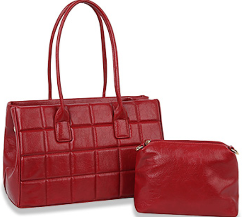 quilted top handle tote